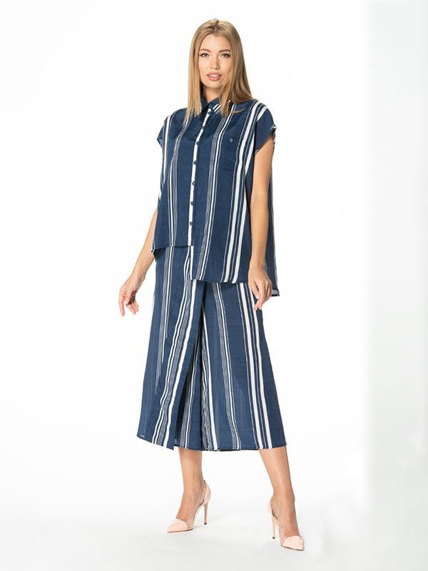 Рубашка синяя в полоску | 5115714