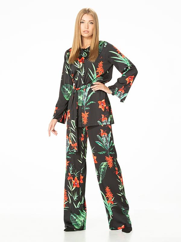 Блуза черная с цветочным принтом | 5115717