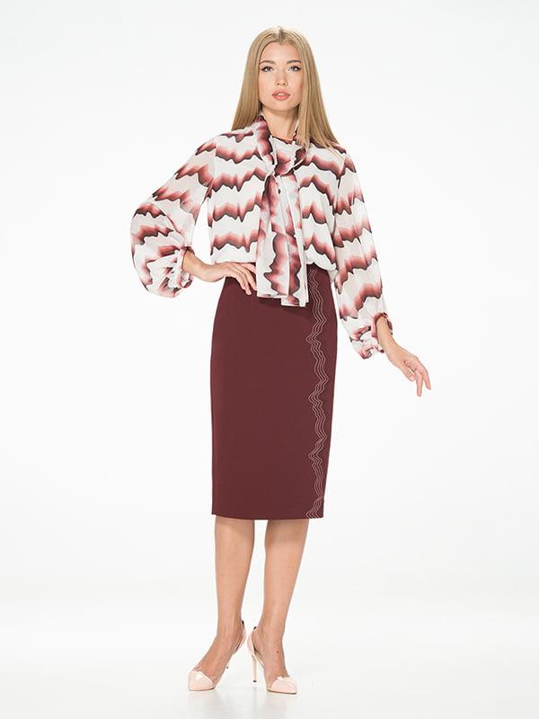 Блуза молочного цвета с принтом | 5115732
