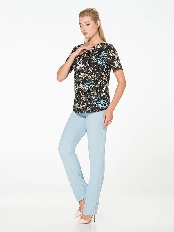 Блуза черная с принтом | 5115748