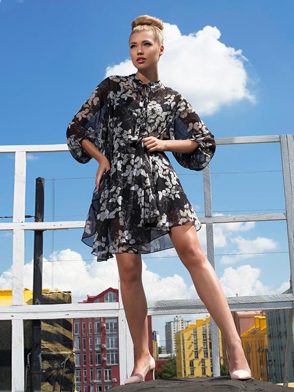 Сукня чорна з квітковим принтом | 5115921