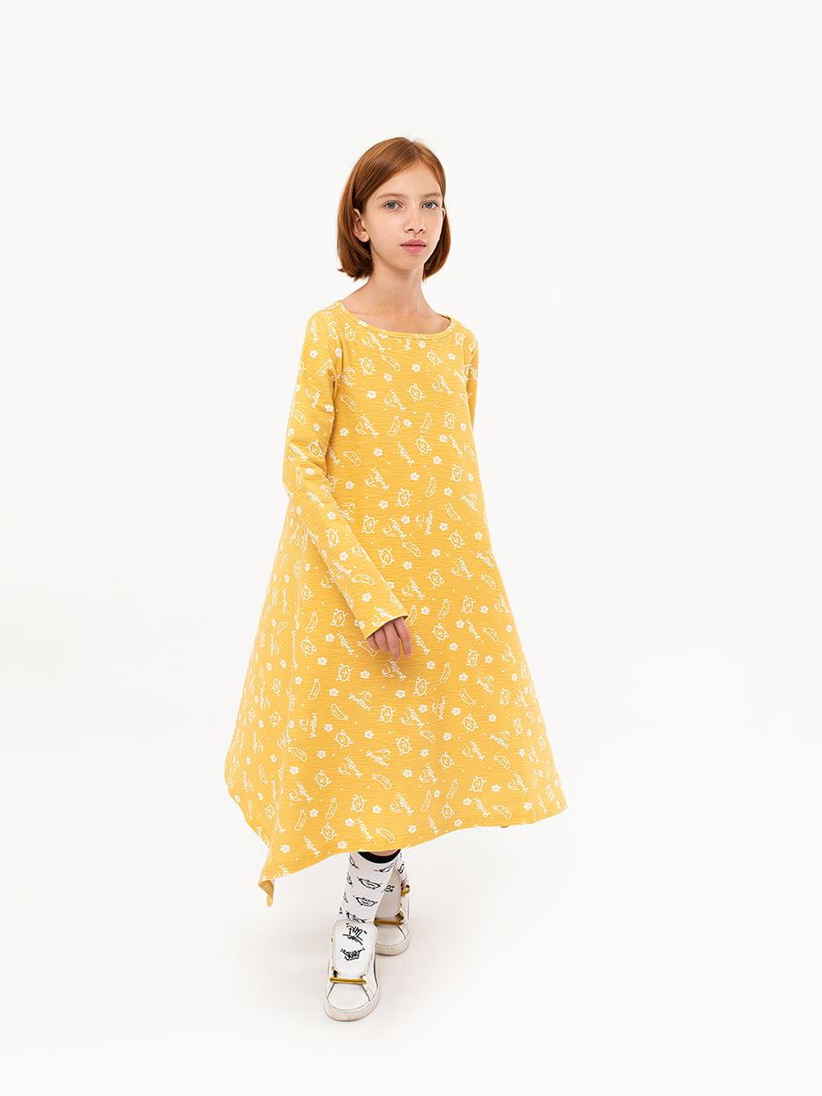 Платье желтое в принт | 5124703