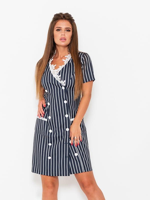 Платье синее в полоску | 5124659