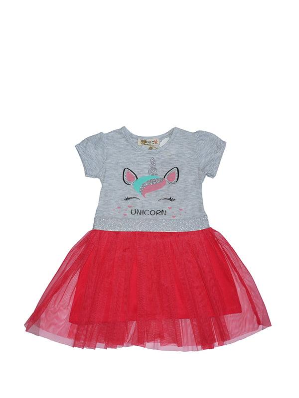 Сукня сіро-червона з принтом   5125986