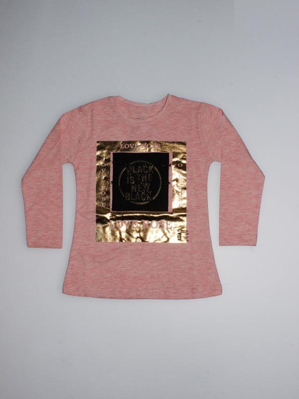 Лонгслів рожевий з принтом | 4935170