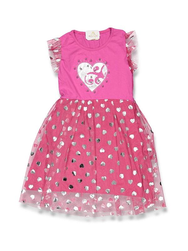 Сукня малинова з принтом | 5125978