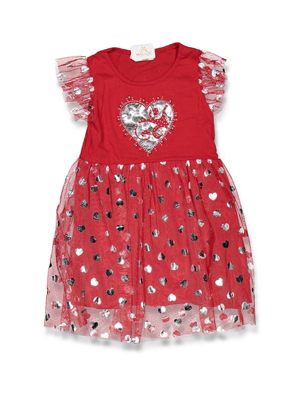 Сукня червона з принтом | 5125979