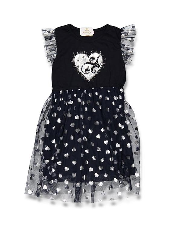 Сукня темно-синя з принтом | 5125980