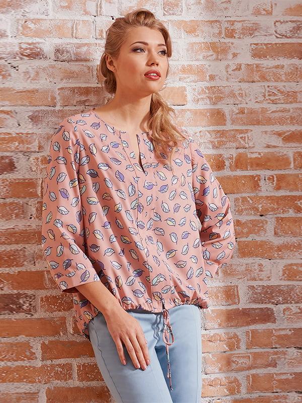 Блуза розовая с принтом   5114031