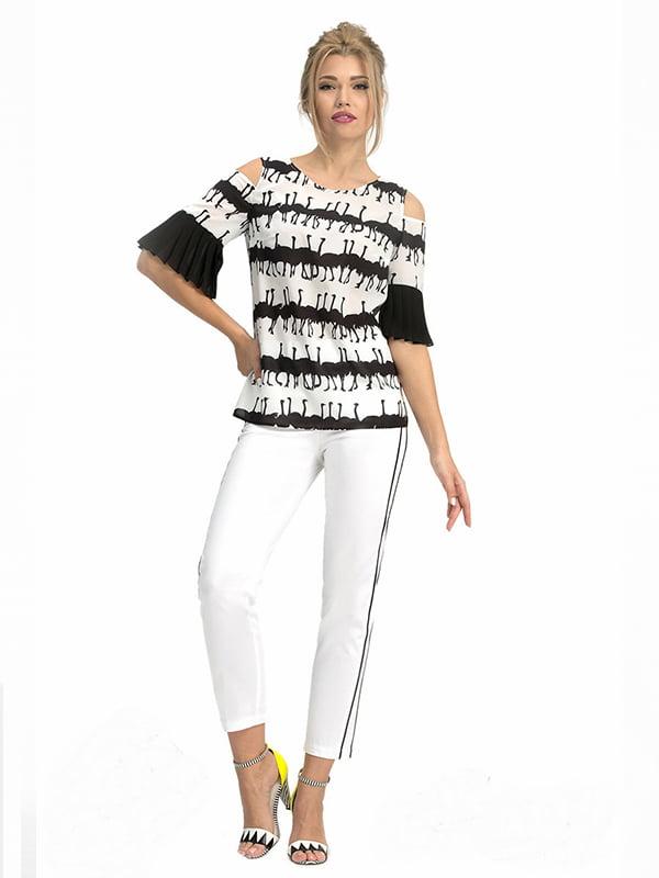 Блуза бело-черная с принтом | 5114050