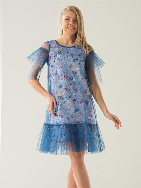 Сукня синя з принтом | 5125127