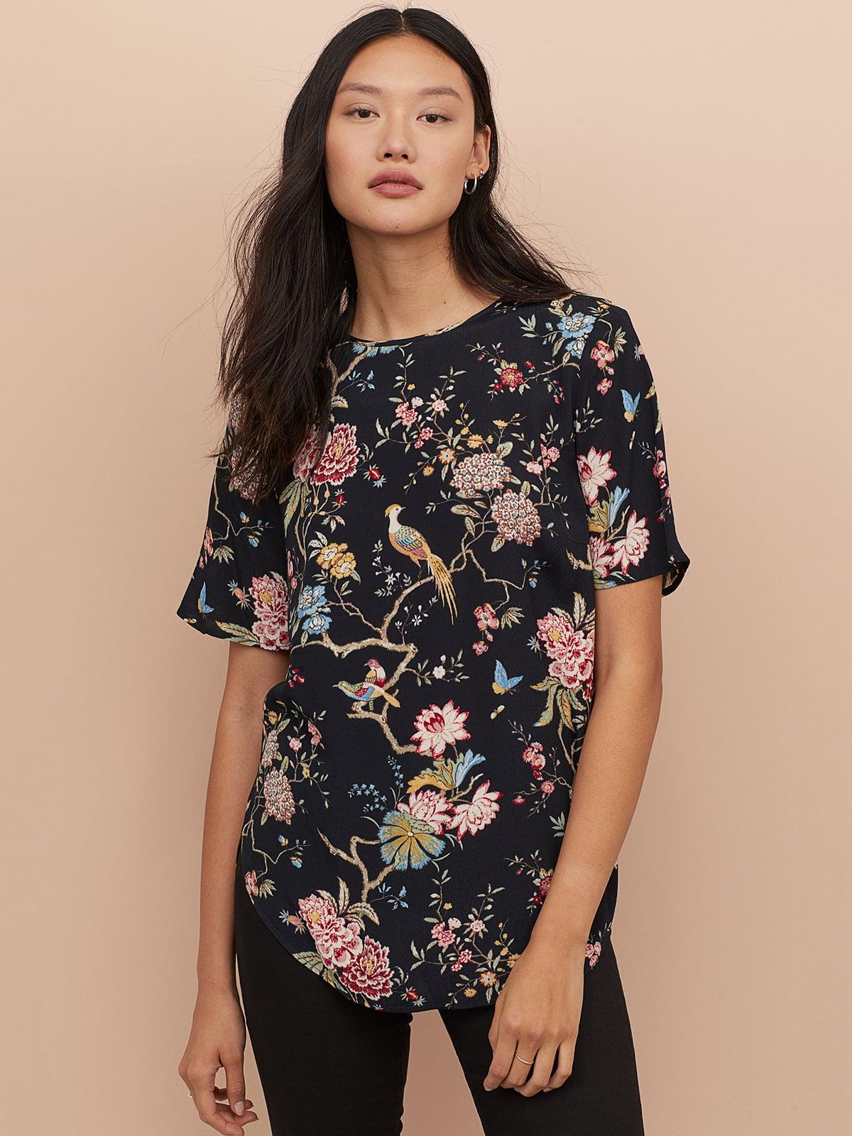Блуза черная в цветочный принт | 5072726