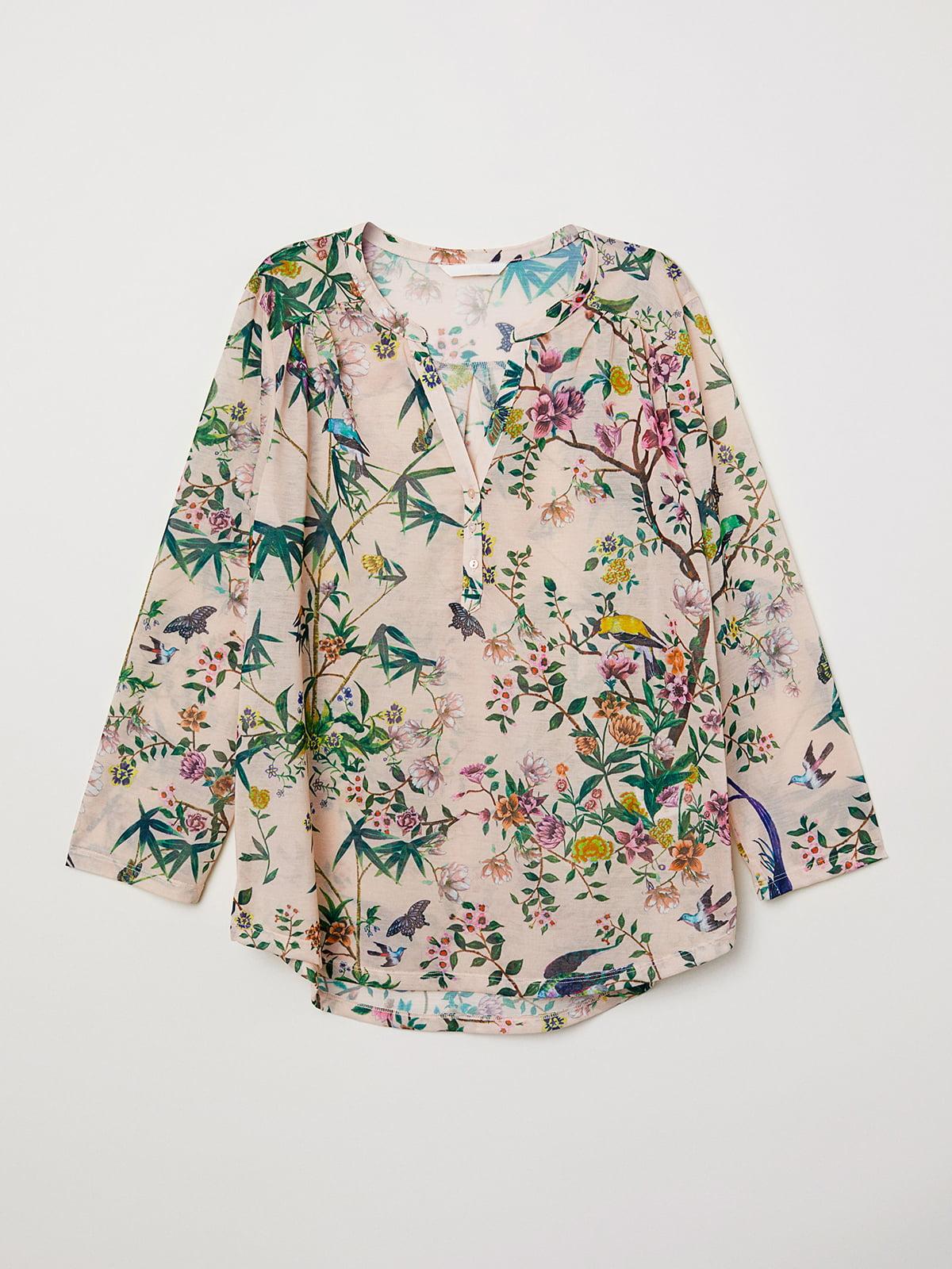 Блуза бежевая с цветочным принтом | 5104619