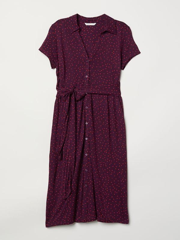 Платье бордовое в горошек | 5104635