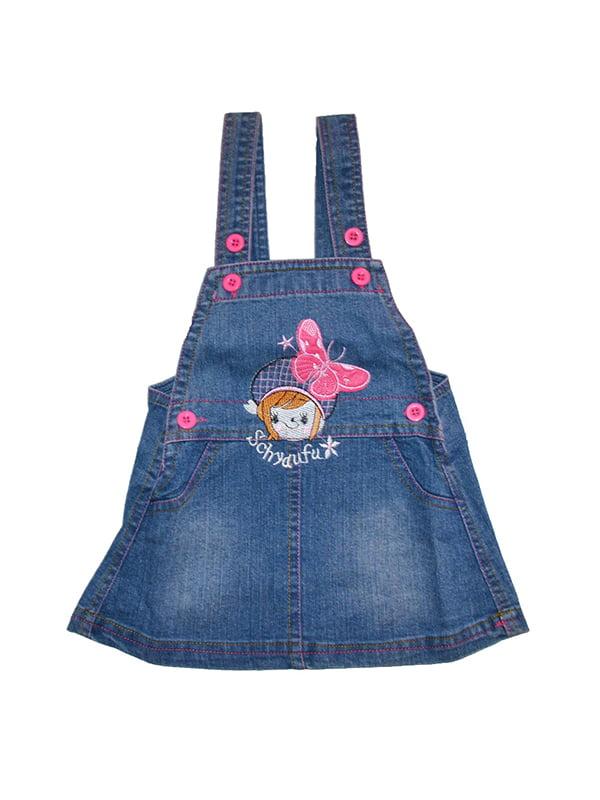 Сарафан синій джинсовий з вишивкою | 5136851