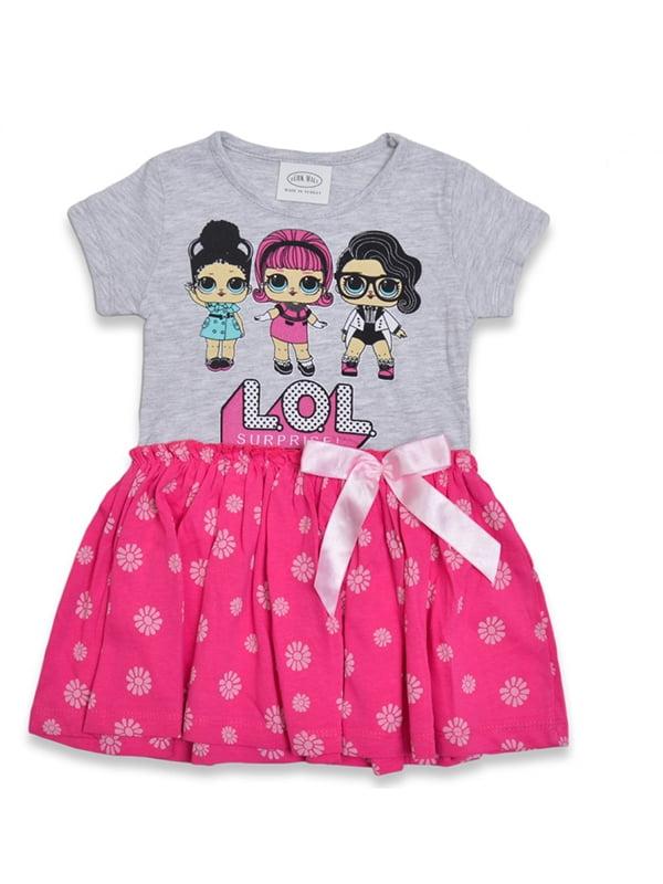 Сукня сіро-рожева з принтом | 5136882