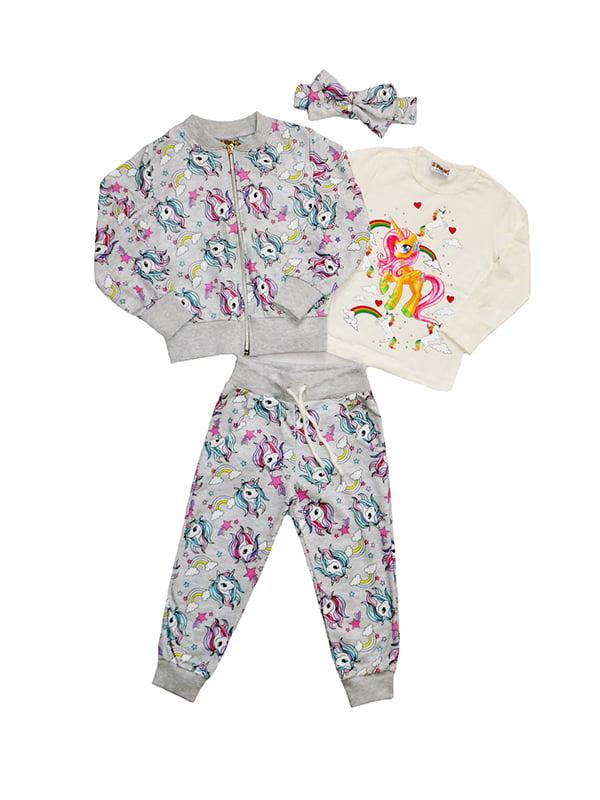 Комплект: лонгслів, кофта, штани і пов'язка на голову | 5136891