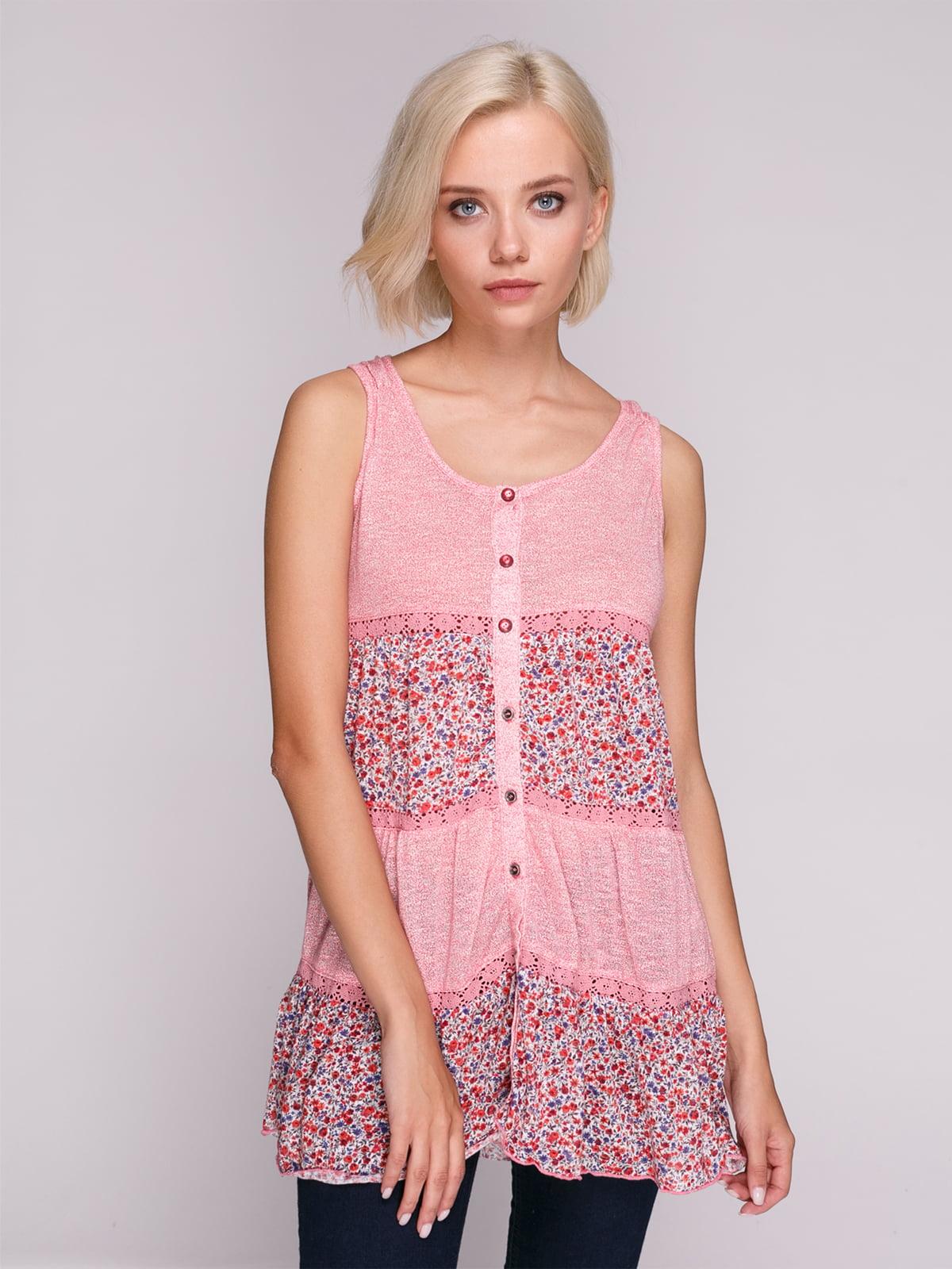 Туніка рожева з квітковим принтом | 4618514