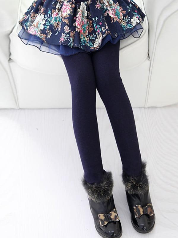 Легінси зі спідницею темно-сині з квітковим принтом | 4859334