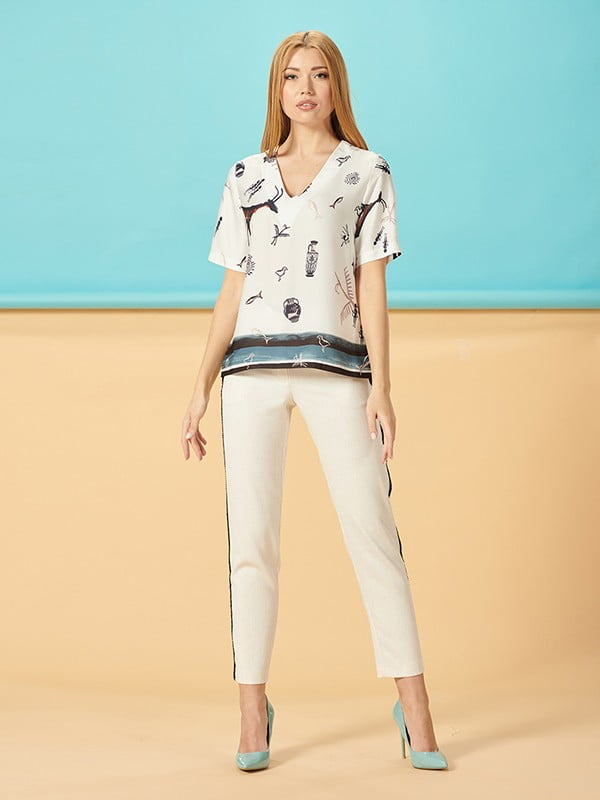 Блуза молочная в принт | 5115780