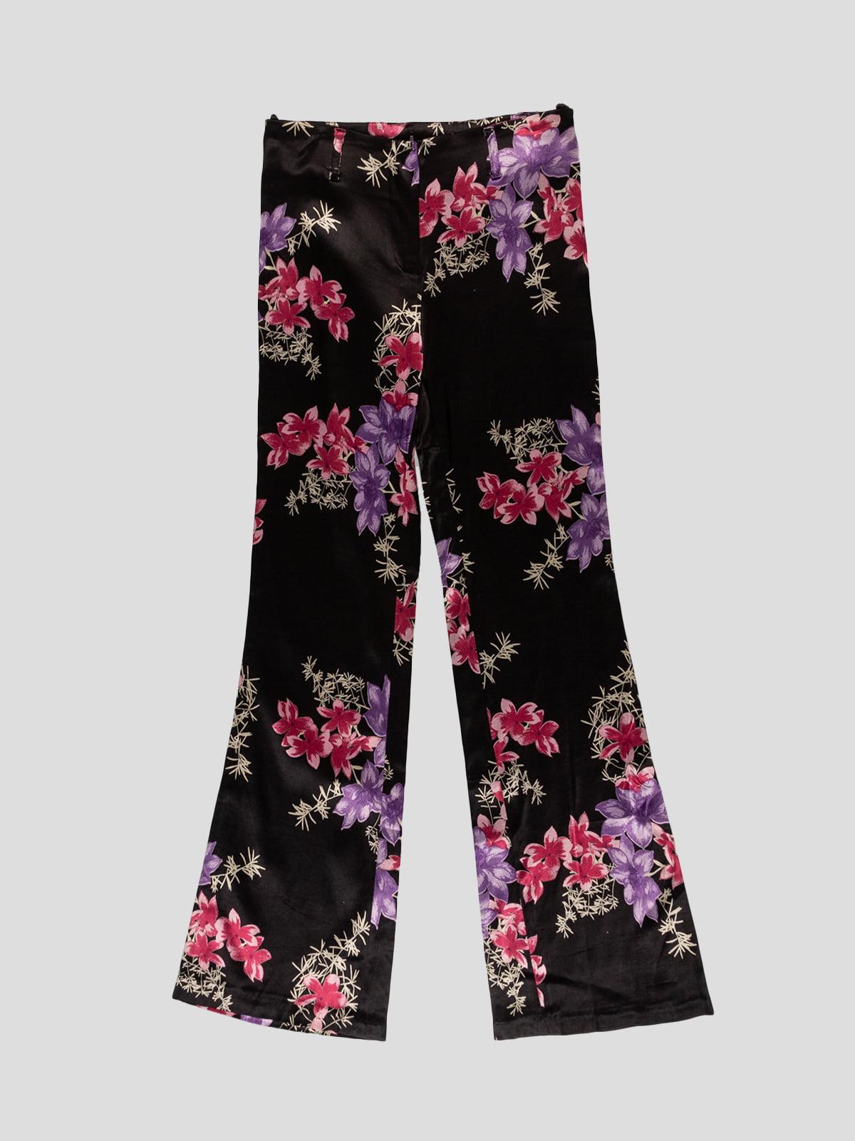 Штани чорні в квітковий принт | 5125099