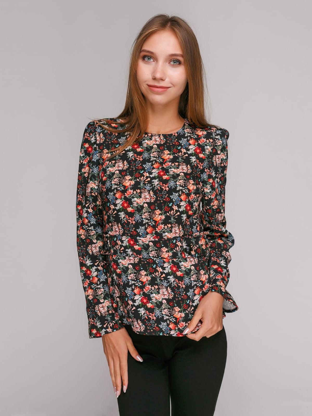 Блуза черная цветочной расцветки   2750391