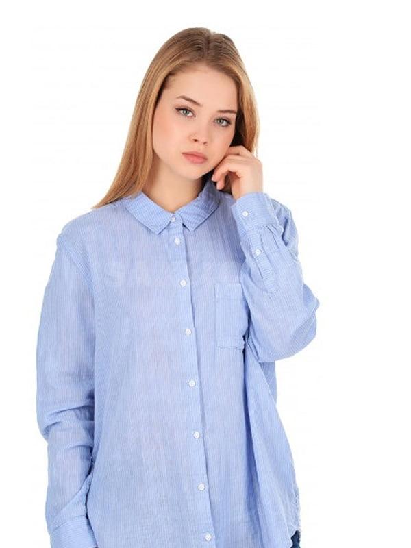 Рубашка пижамная голубая в полоску | 5113161