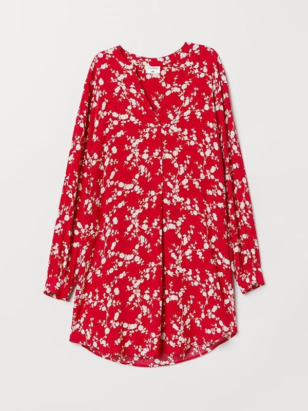 Платье красное в цветочный принт | 5113182