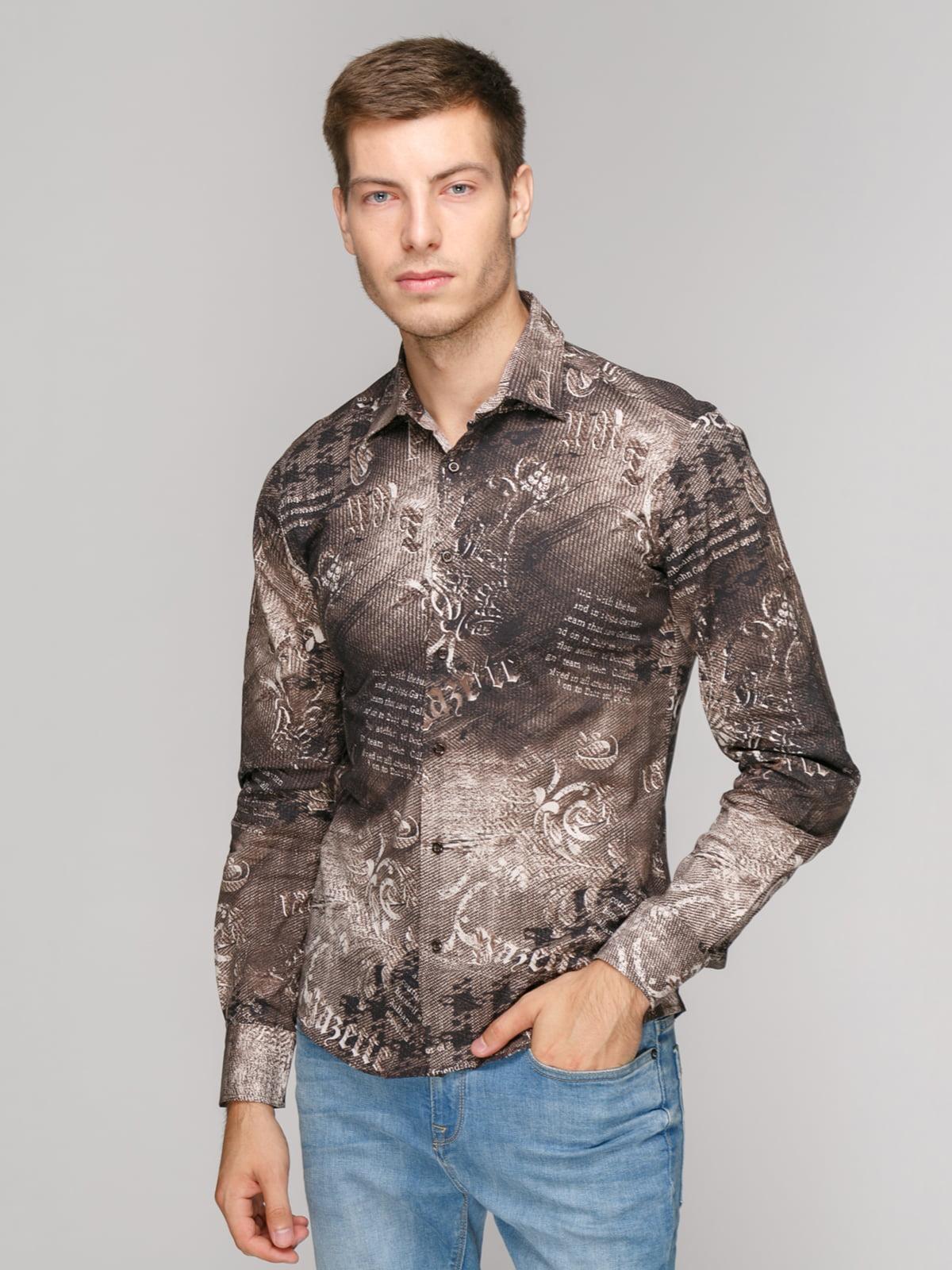 Сорочка кавового кольору в принт | 5114381