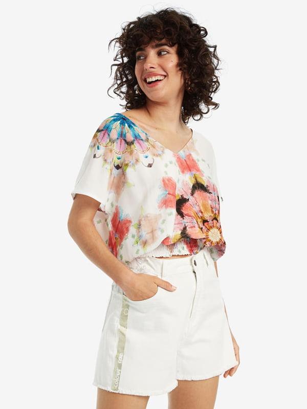 Блуза біла в принт | 5143158