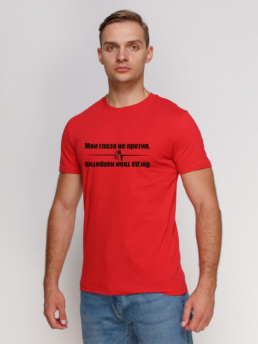 Футболка червона з принтом | 5145243