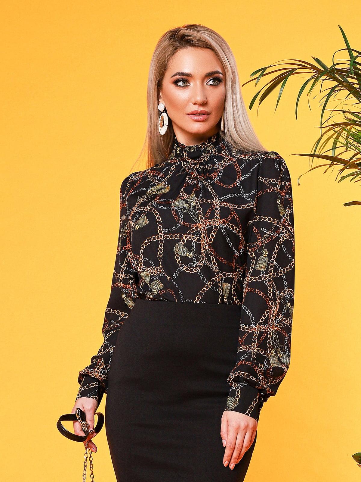 Блуза чорна з принтом | 5151633