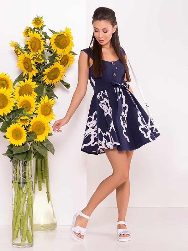 Сукня темно-синя з квітковим принтом | 5141619