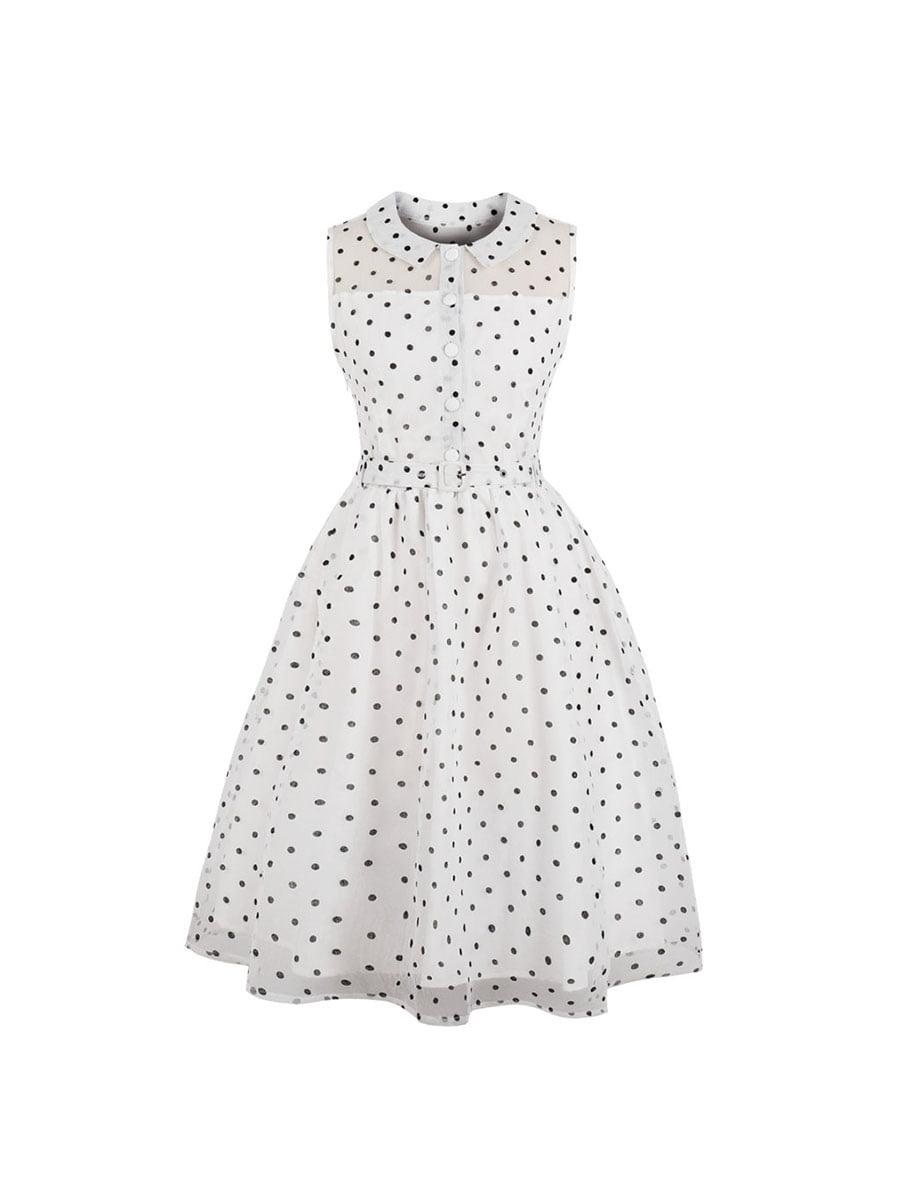 Сукня біла в горошок | 5154003