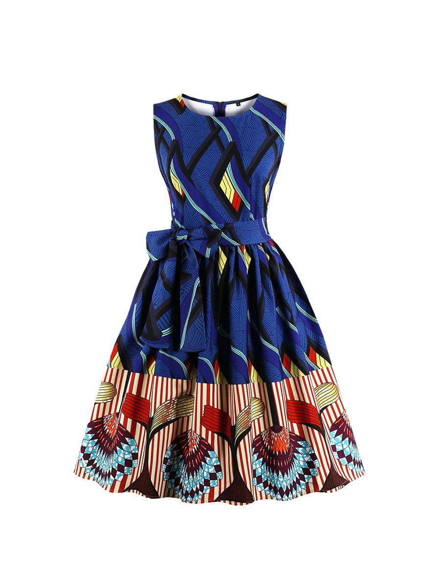 Сукня синя в принт | 5154007