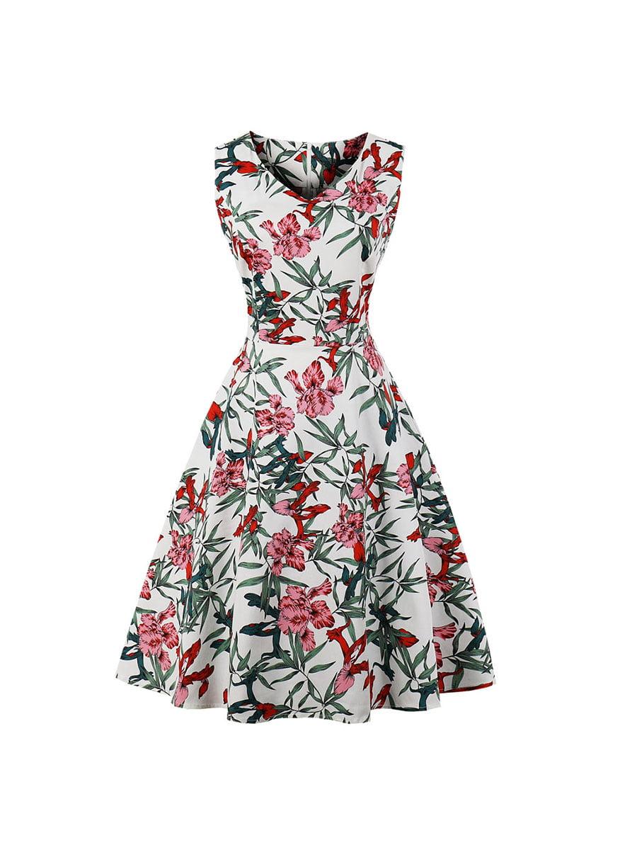 Сукня біла в квітковий принт | 5154025