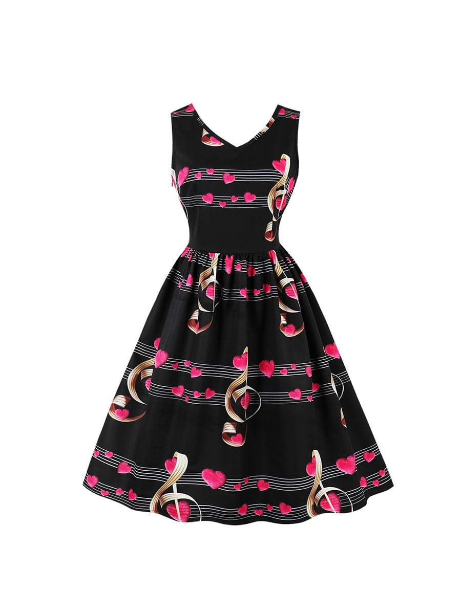 Сукня чорна в принт | 5154031