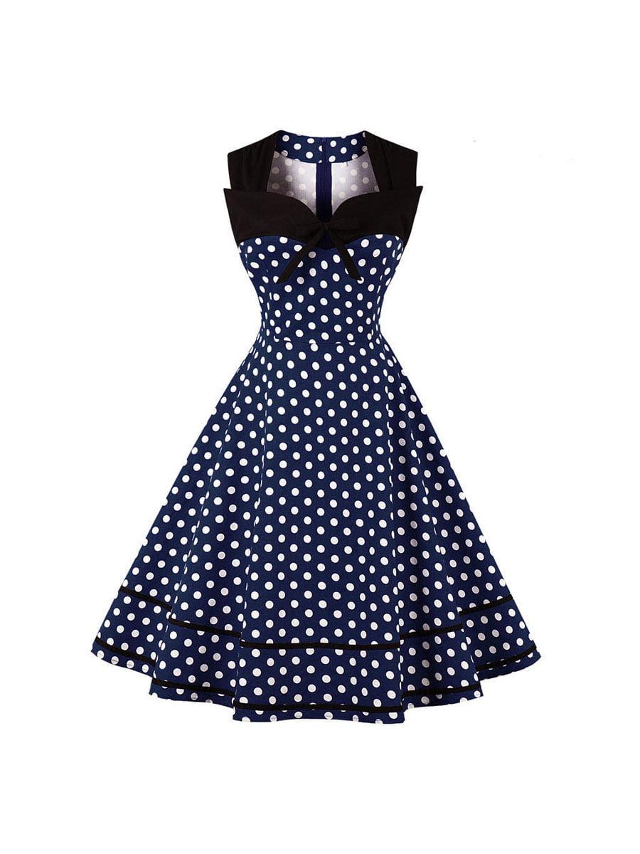 Сукня синя в горошок | 5154038