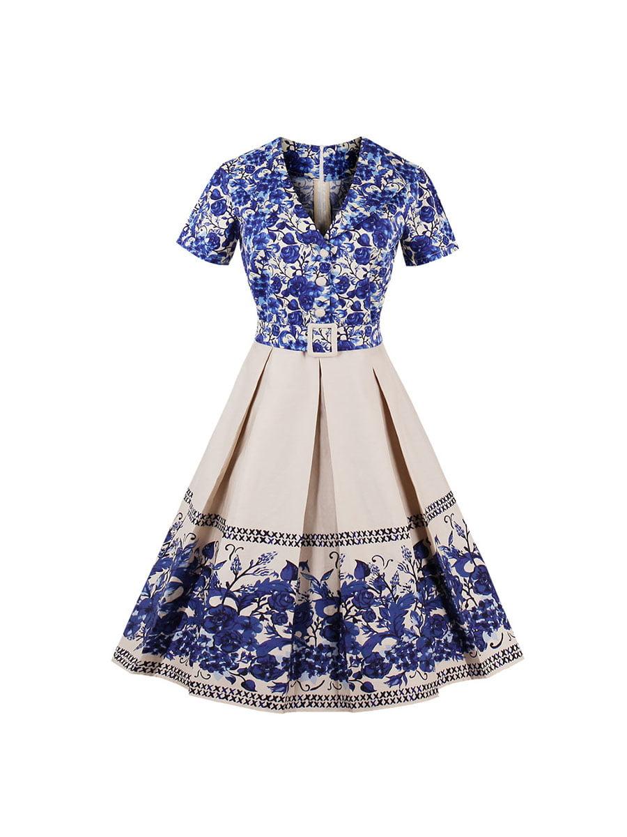 Сукня двоколірна з принтом | 5154053