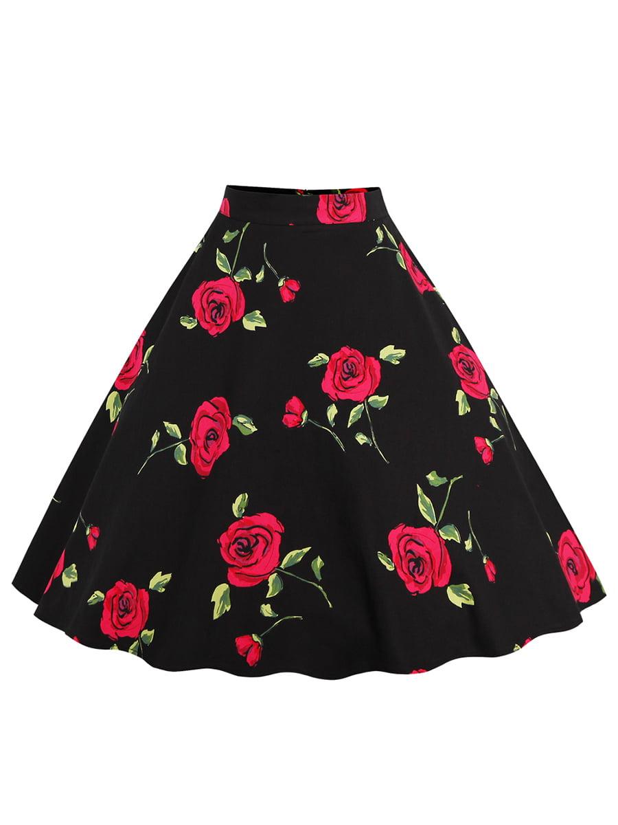Спідниця чорна в квітковий принт | 5154095