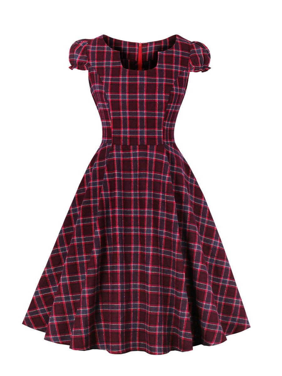 Сукня бордова в клітинку | 5154121