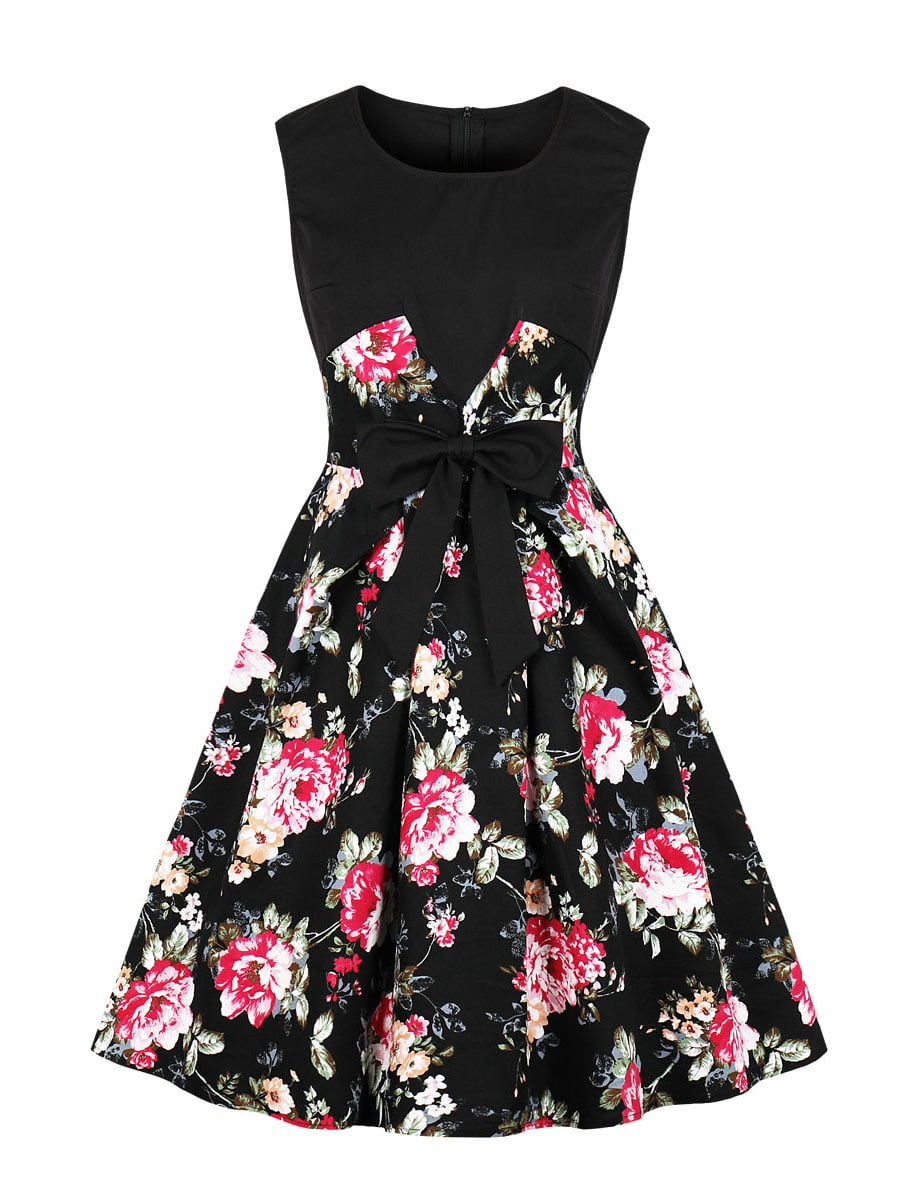 Сукня чорна в квітковий принт | 5154132