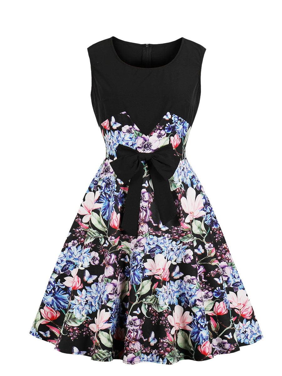 Сукня чорна в квітковий принт | 5154133