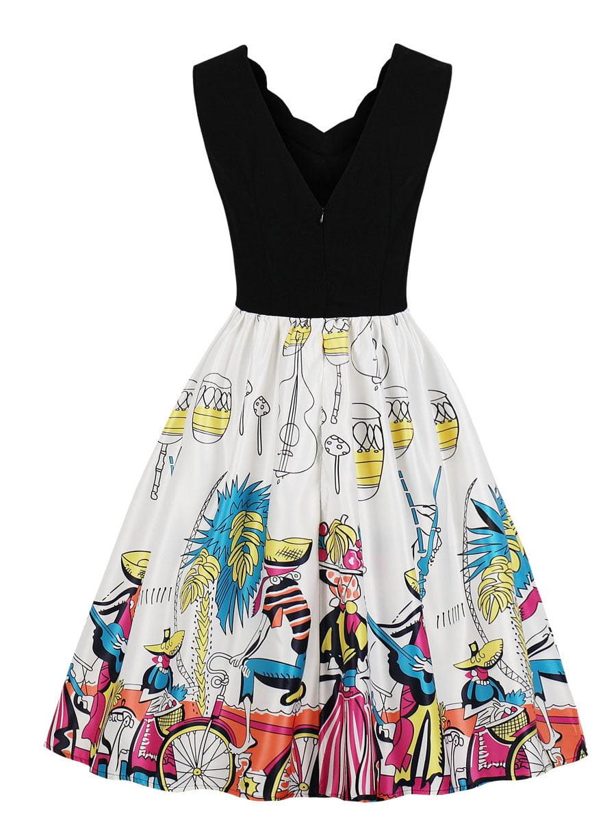 Сукня двоколірна з принтом | 5154140