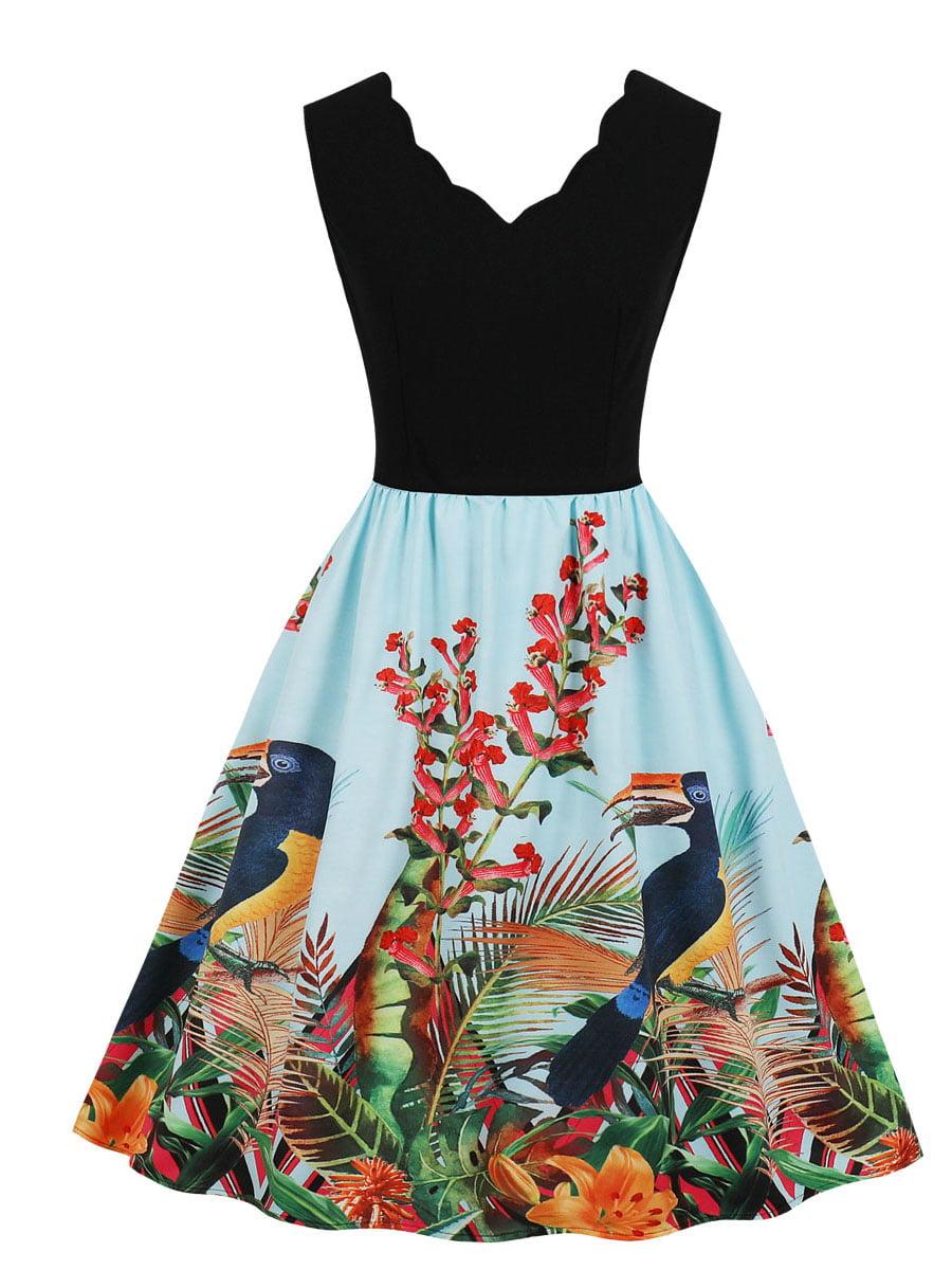 Сукня двоколірна з принтом | 5154145