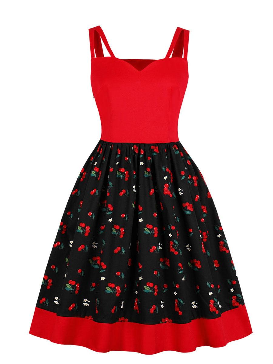 Сукня червоно-чорна з принтом   5154150