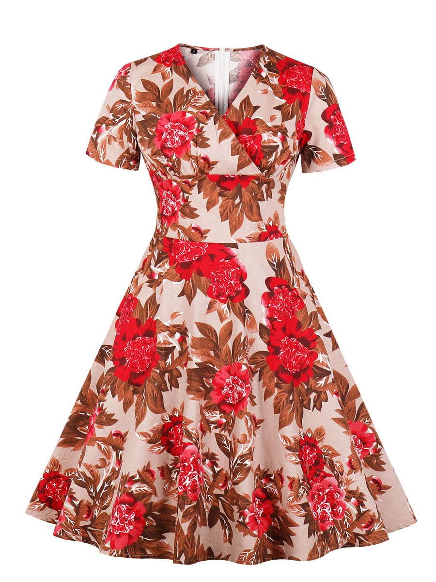 Сукня червона в квітковий принт | 5154152