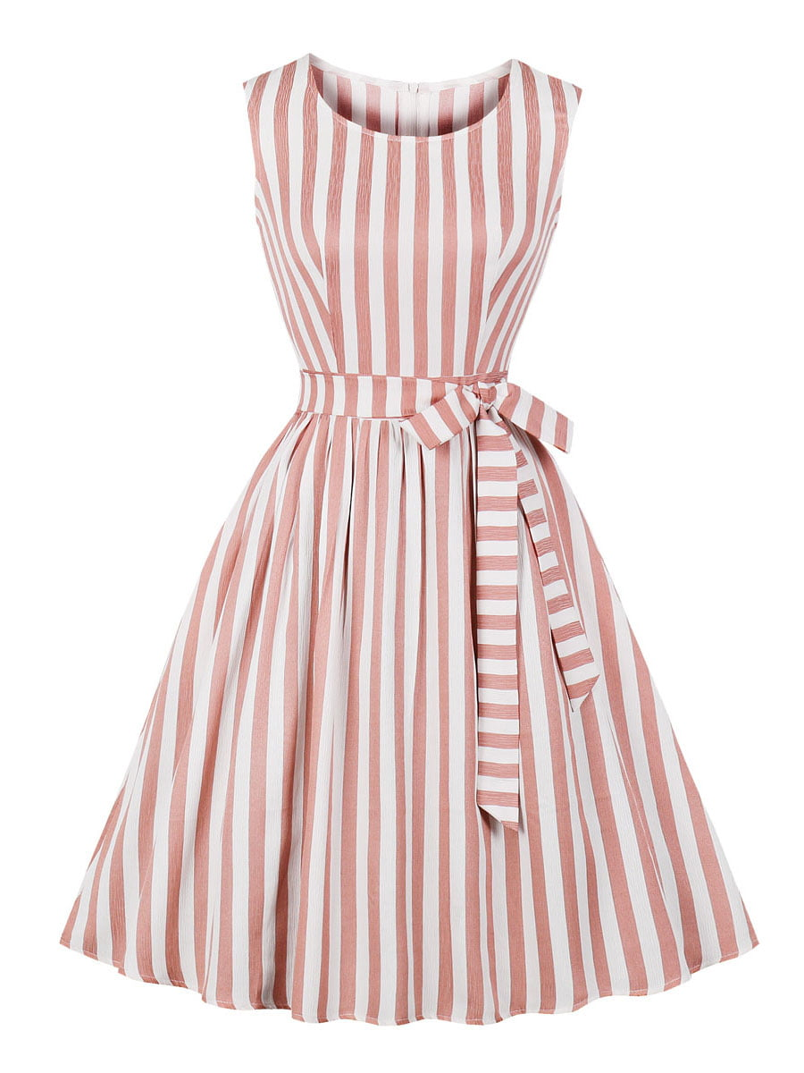 Сукня кольору пудри в смужку | 5154178