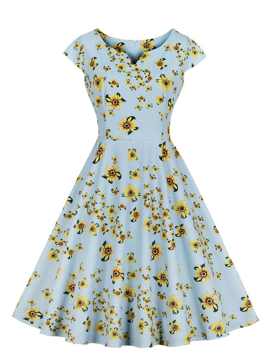 Сукня блакитна в квітковий принт | 5154199