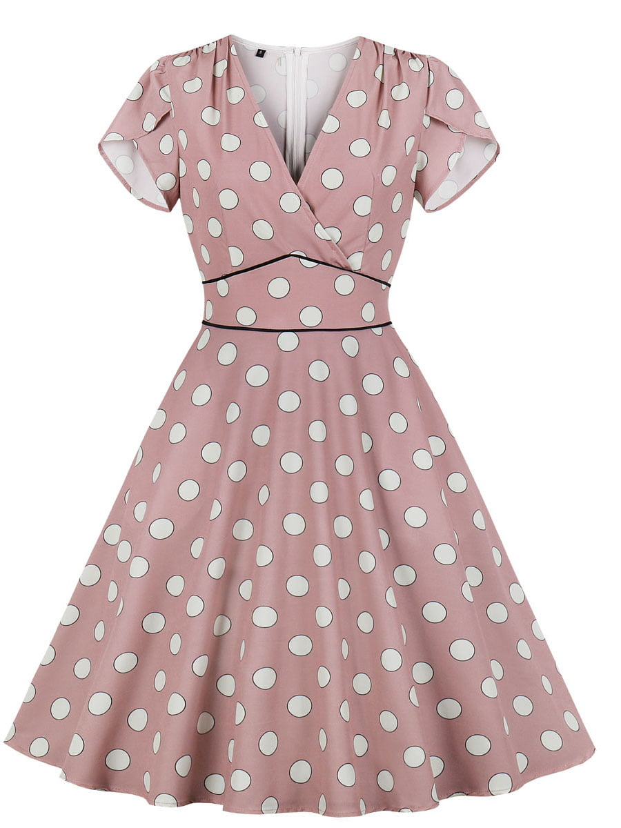 Сукня кольору пудри в горошок | 5154216